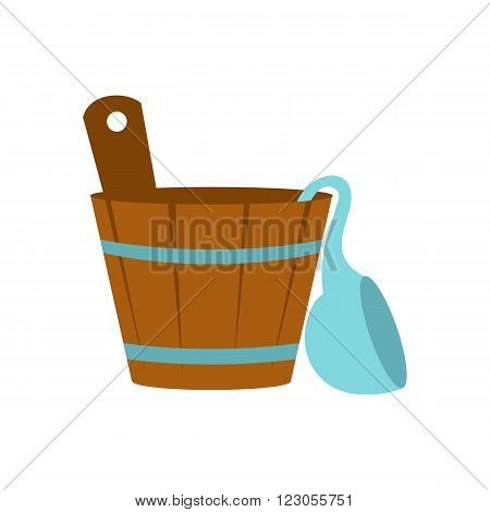 Russian bath tub icon in flat style isolated on white background