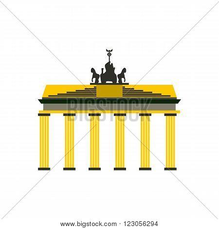 Brandenburg gate icon in flat style isolated on white background
