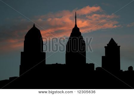 Philadelphia skyline at sunset with beautiful sky illustration