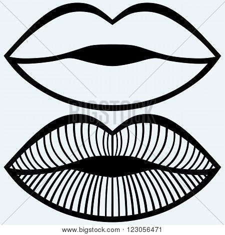 Passionate female lips. Isolated on blue background. Vector