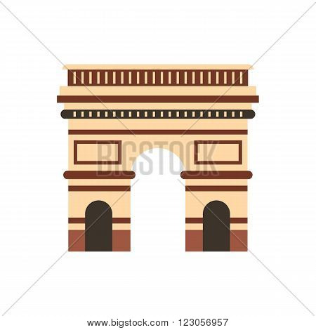 Triumphal arch, Paris icon in flat style isolated on white background