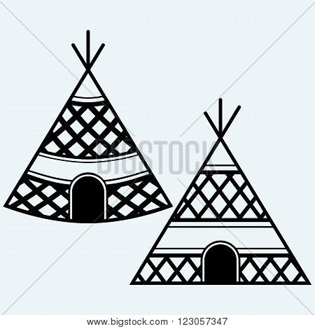 Indian tepee. Isolated on blue background. Vector
