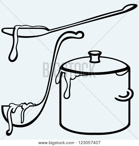 Hot soup. Pan with a ladle. Isolated on blue background. Vector