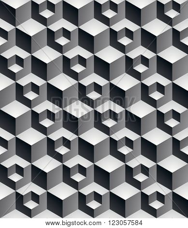 Regular Contrast Textured Endless Pattern With Three-dimensional Cubes, Continuous Black And White G