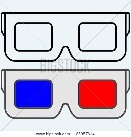 3-D Glasses, symbol. Isolated on blue background. Vector