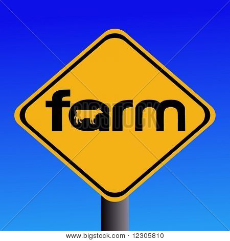 Warning farm sign with cow silhouette illustration