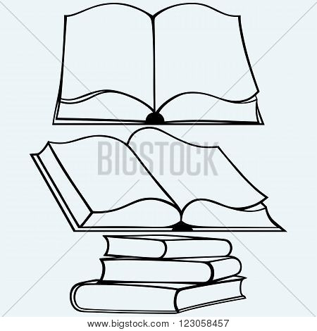 School textbooks. Isolated on blue background. Vector silhouettes
