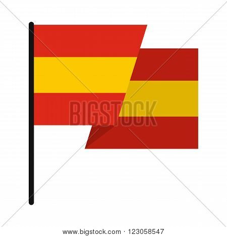 Flag of Spain icon in flat style isolated on white background