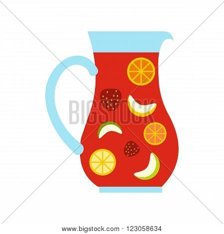 Jar and glass of fresh sangria icon in flat style isolated on white background