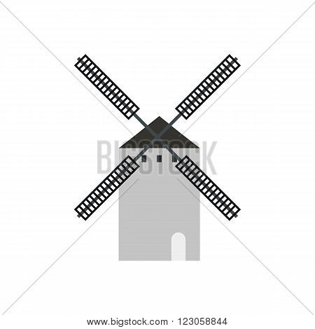 Spanish windmill icon in flat style isolated on white background
