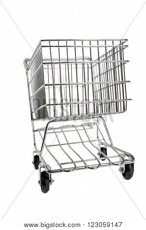 Abstract view of a shopping cart isolated on white.