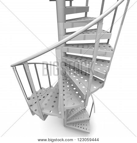 Spiral staircase. Isolated on white background. The three-dimensional illustration
