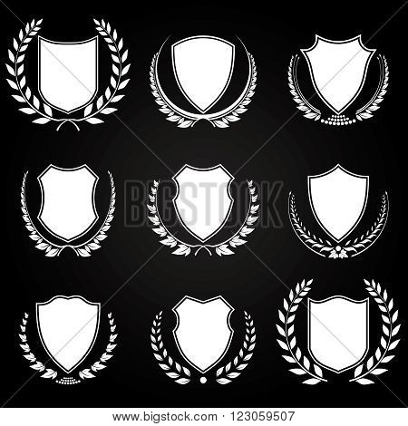 Collection of Shields with different styles of Laurel Wreath, Plain