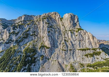 Helicopter aerial photo of the river Tara canyon wall in Montenegro continental part and mountain nature.