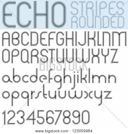 Poster Echo Black Font And Numbers On White Background, Striped Letters With Rounded Corners.