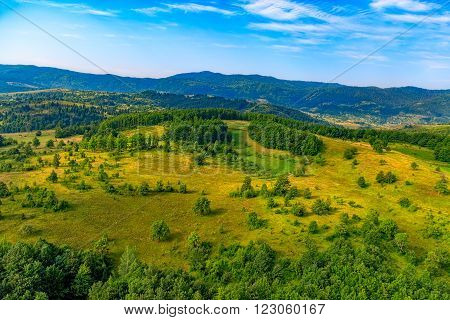 Helicopter aerial photo of the mountain nature in Montenegro continental part.