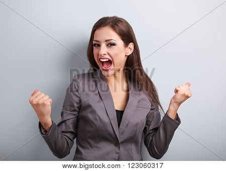 Excited Winner Business Woman With Opened Mouth. Happy Young Satisfacted Female Showing The Gesture