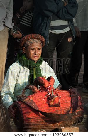Bhaktapur, Nepal -  April 19 2013: Unknown Nepali Musician Plays During The Performance Of A Ritual