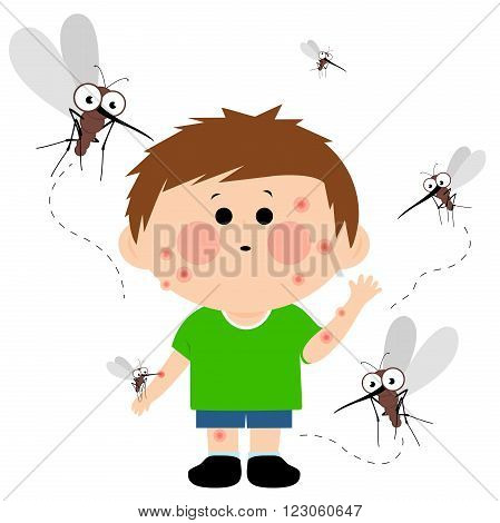 Vector illustration of cartoon mosquitoes flying around a young boy and biting him. His skin is full of mosquito bites.