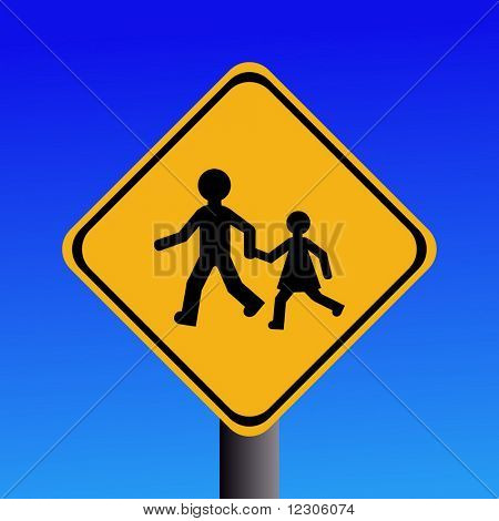 Warning children on road sign illustration