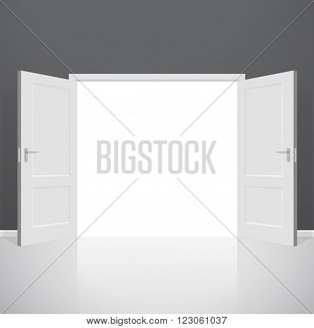 Open doors. Realistic vector illustration. Wooden door