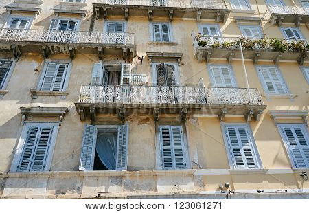 Facade of the building in the Venetian style in Corfu Greece
