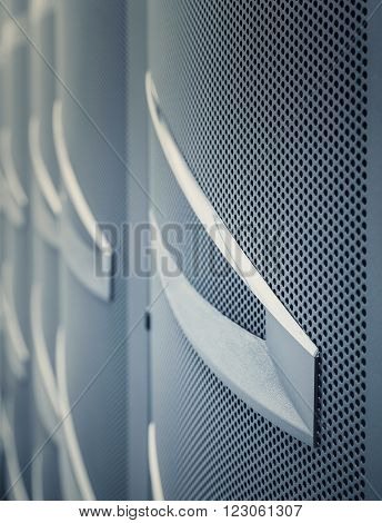 door mainframe in the data center blur closeup