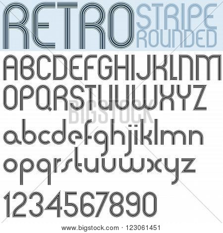 Poster rounded black font and numbers on white background retro striped letters.