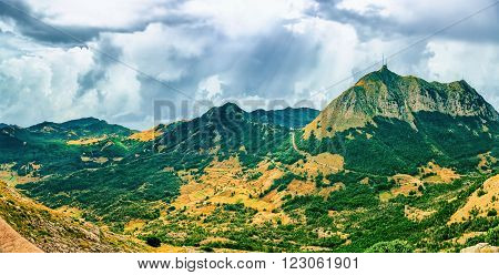 Panoramic view of the highest peaks of the Lovcen mountain national park in southwestern Montenegro.