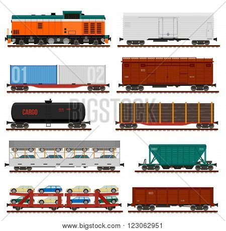 Collection of freight cars. Vector side view flat illustrations. Infographics use.