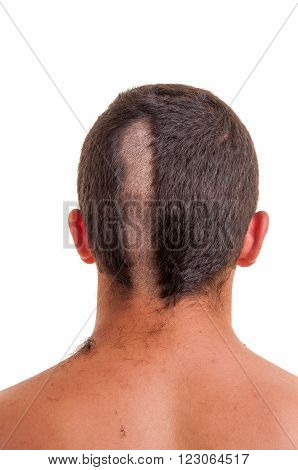 Closeup Of The Back Of Man Head While His Hair Is Cut Isolated On White