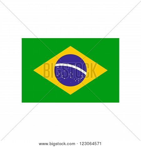 Flag of Brazil icon in flat style isolated on white background