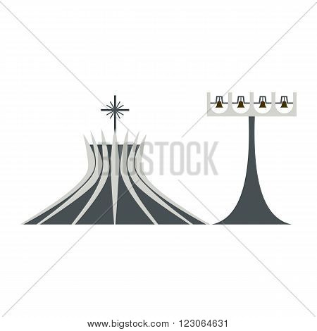 Metropolitan Cathedral in Brasil icon in flat style isolated on white background