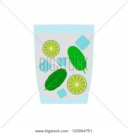 Caipirinha cocktail drink icon in flat style isolated on white background