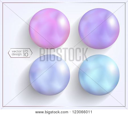 3d set of spheres with pearl effect. Elements for design. Multicolored glossy buttons. ?omfortable editing.