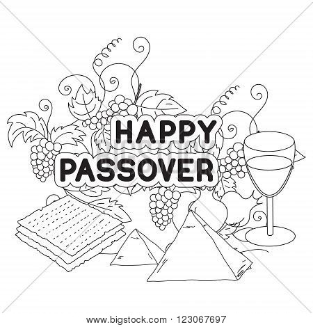 Happy Passover. Greeting card coloring page. Hand drawn elements on white background. Isolated on white. Vector illustration.