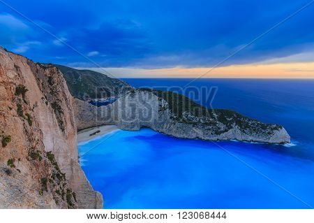 Shipwreck bay, Navagio, sunset - Zakynthos, Greece - The world famous, amazing beach