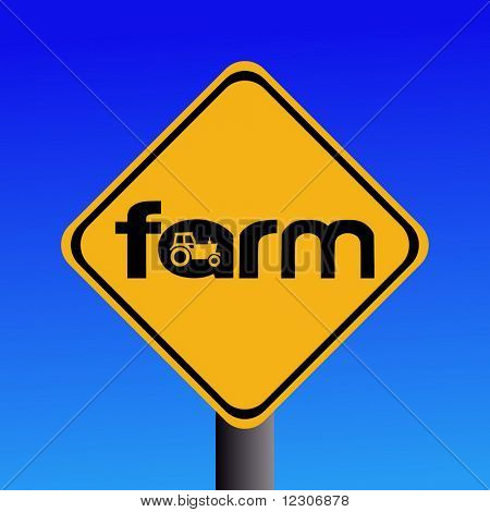 Warning farm sign with tractor silhouette illustration