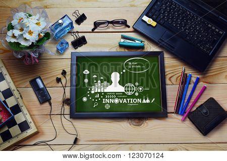 Innovation Design Concept On Wooden Office Desk.