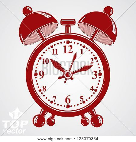 Alarm Clock Vector 3D Illustration, Wake Up Conceptual Icon. Graphic Dimensional Clock With Clang Be