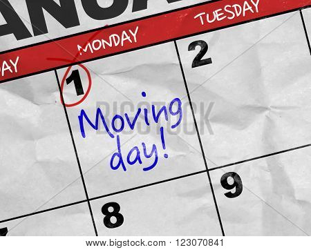 Concept image of a Calendar with the text: Moving Day