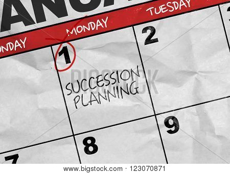 Concept image of a Calendar with the text: Succession Planning