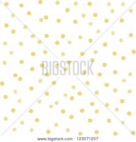 Seamless polka dot pattern. Dry brush painted circles with rough edges. Trendy hipster texture. Hand drawn endless stylish backdrop. Gold shapes on white background. Cloth design, wallpaper, wrapping