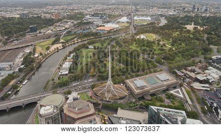 Melbourne - February 23 2016: Aerial view of the beautiful city of Melbourne Yarru winding river and the Royal Botanical Garden February 23 2016 Melbourne Australia