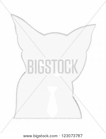 Animated cat in a tie under the sheet of paper with a hole in the head cat