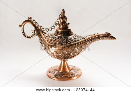 Details of Aladdin's lamp isolated on white background