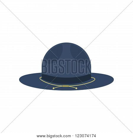 Blue cowboy hat icon in flat style isolated on white background