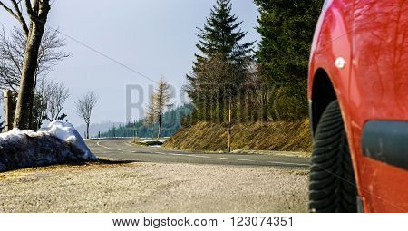 New Asphalt Auto Road In Alsace Mountains, France