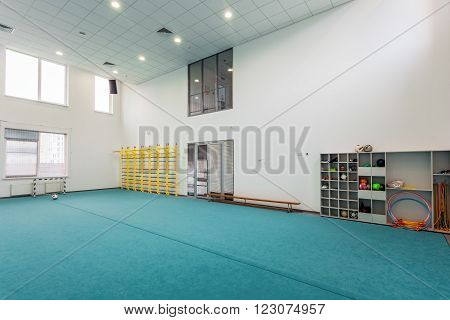 UKRAINE, KIEV - OCT 6: Children sports hall of the Academy of modern education interior on October 6, 2013 in Kiev, Ukraine.