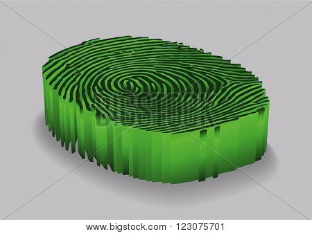 Green Fingerprint. Design background. Vector illustration .